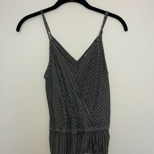 Button front striped tank top